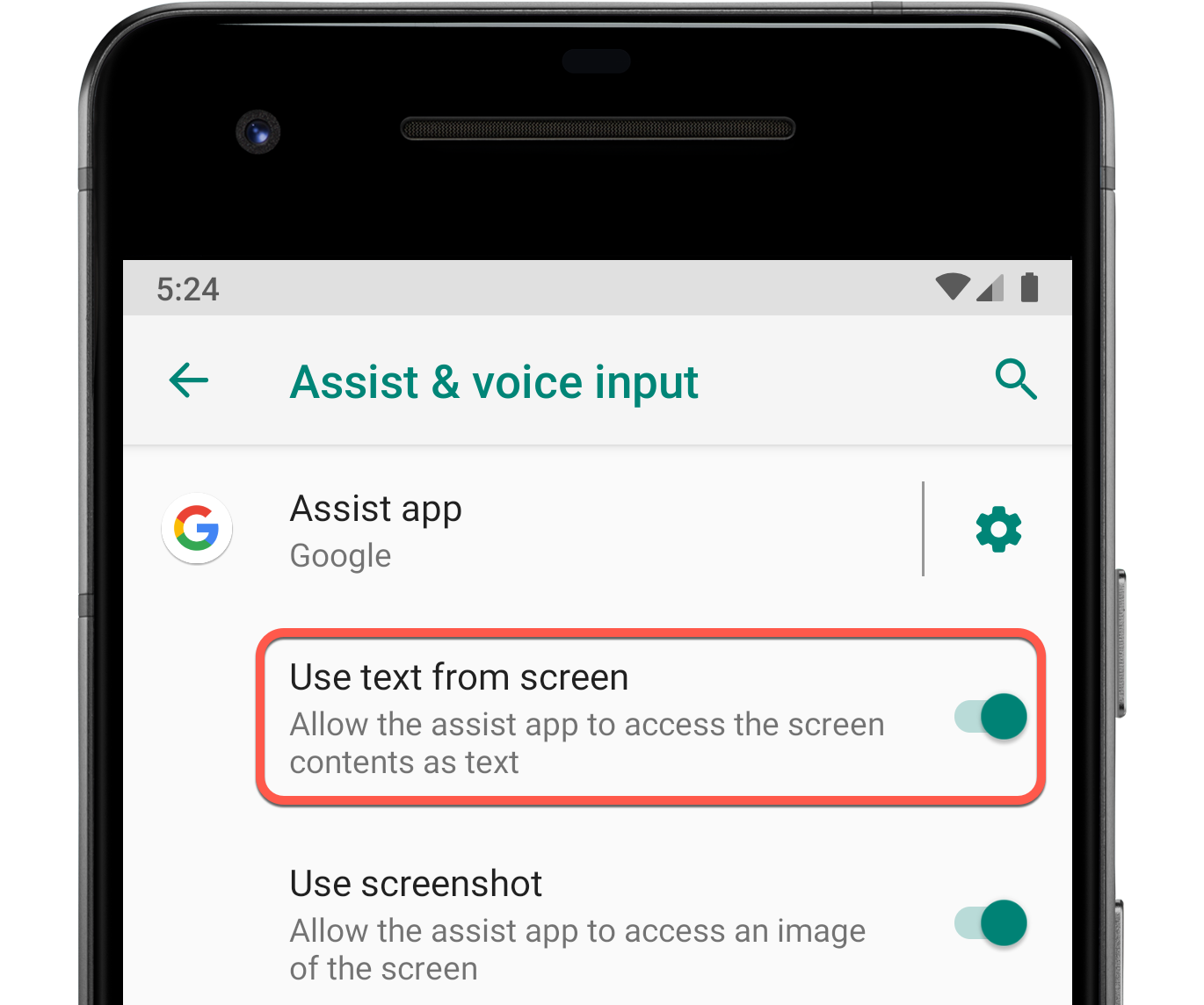In device settings, users must enable the 'Use text from screen'             for foreground app invocation to work.