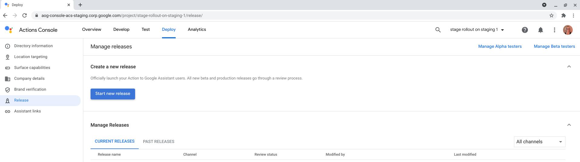 Screenshot of Start new release
