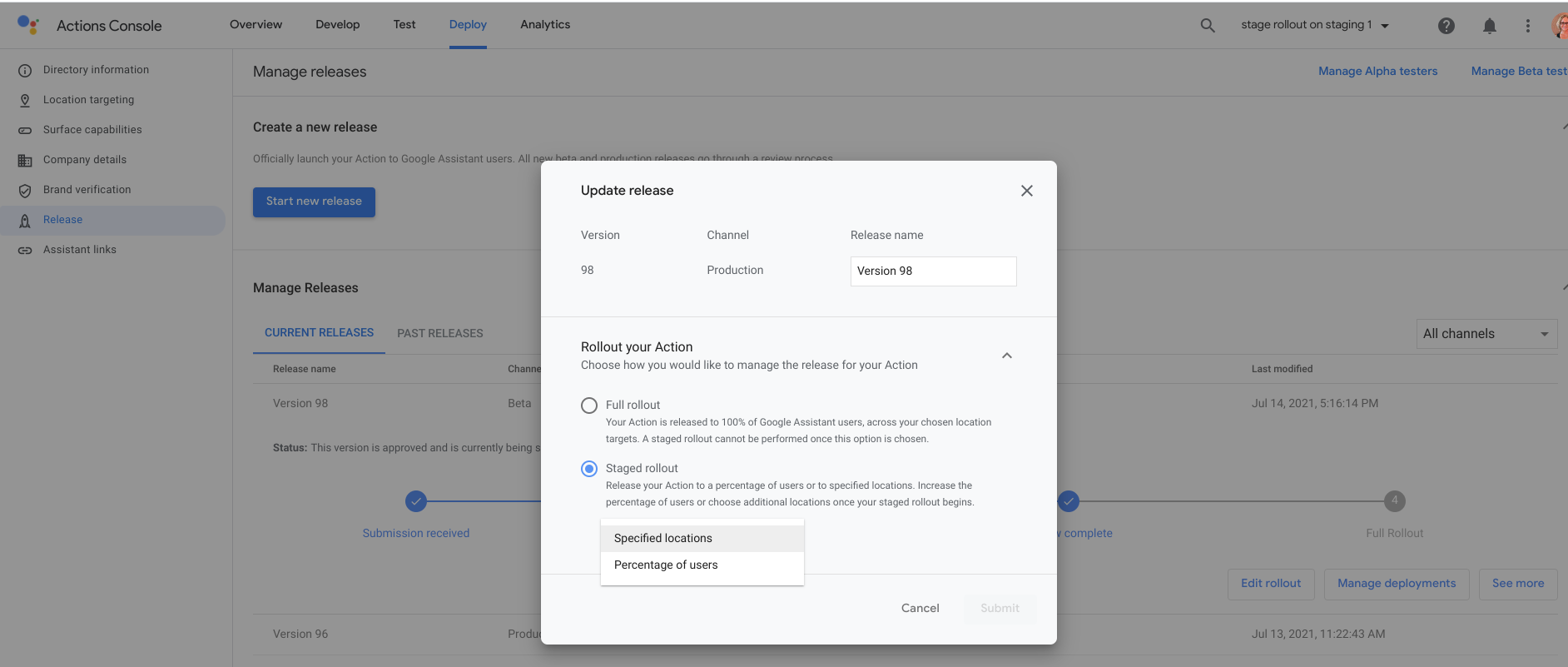Screenshot of selecting staged rollout