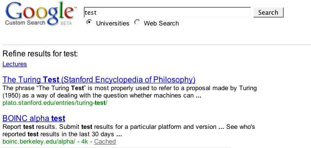 Search results page with a refinement link called Lectures
