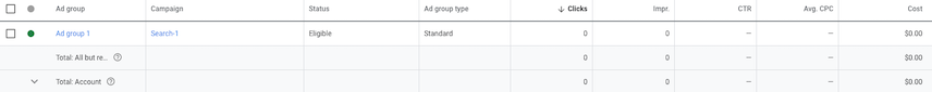 Google Ads UI Ad groups screen