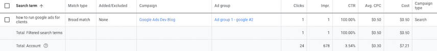 Google Ads UI Search terms screen