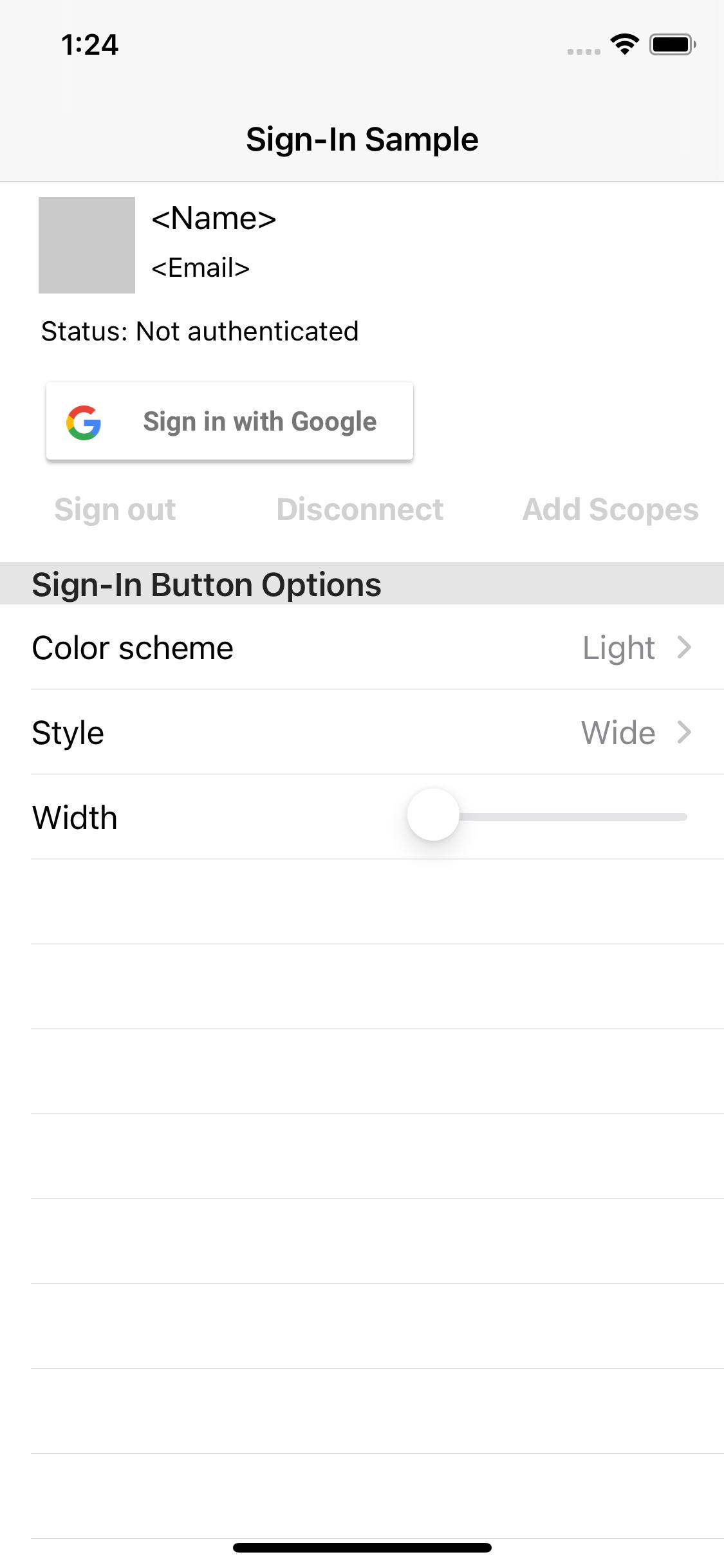 Screenshot of the sample app
