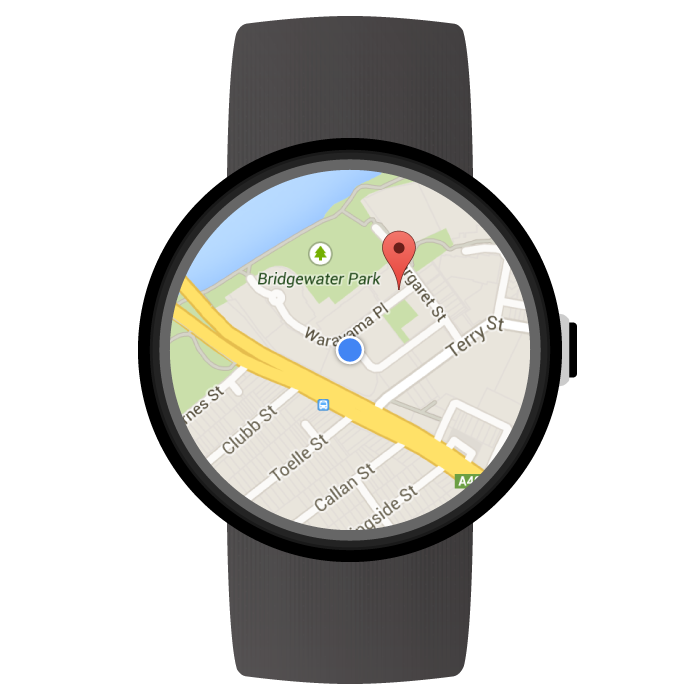 ウェアラブル デバイスに表示したマップ