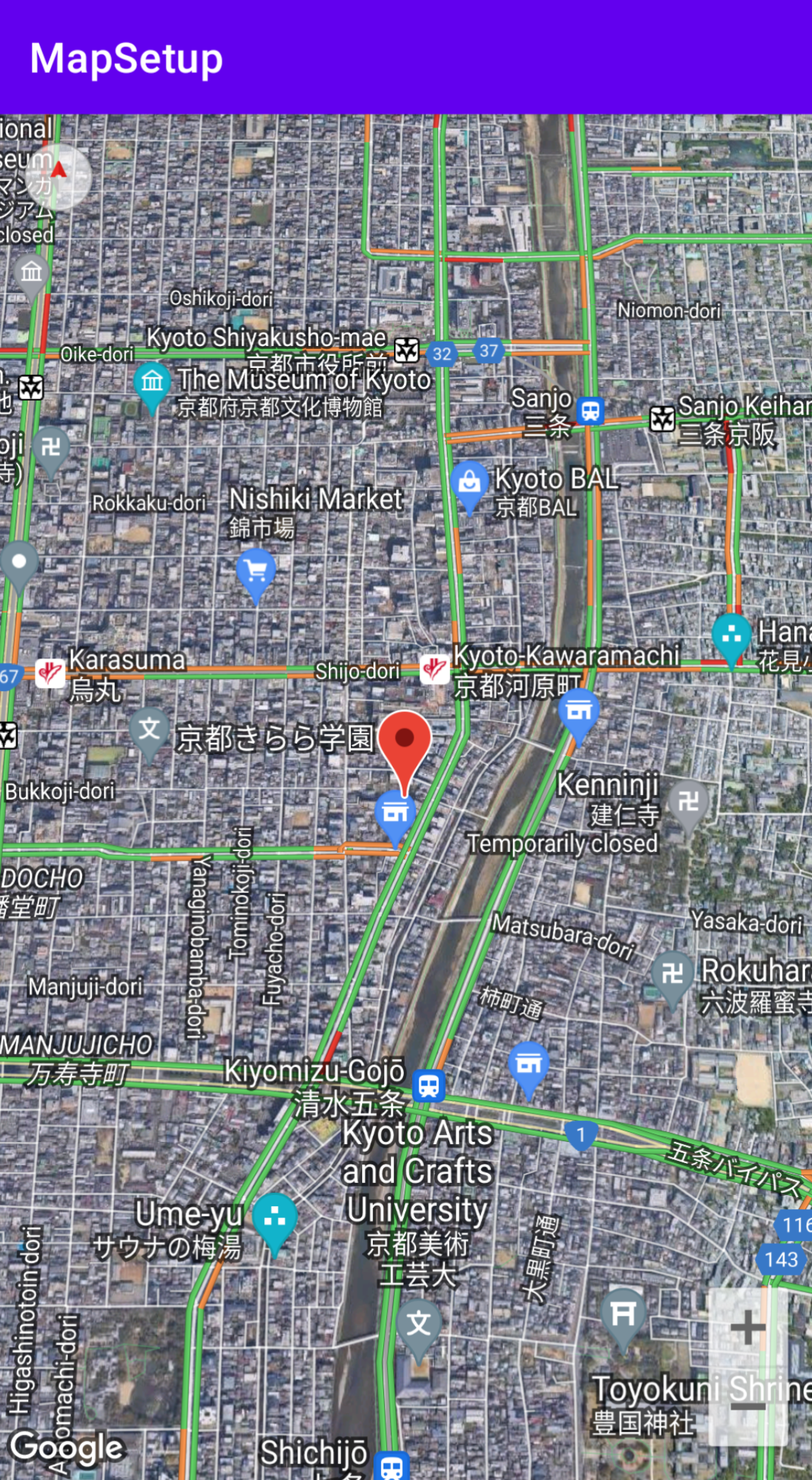已配置地图设置的京都地图的屏幕截图。