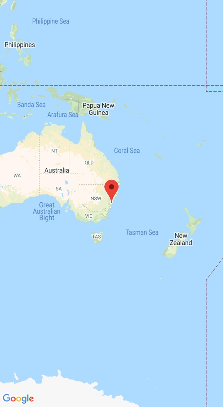 Captura de tela com o mapa e o marcador centralizados em Sydney, Austrália.