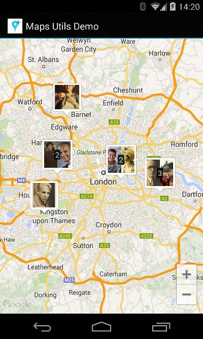 含自訂叢集標記的地圖