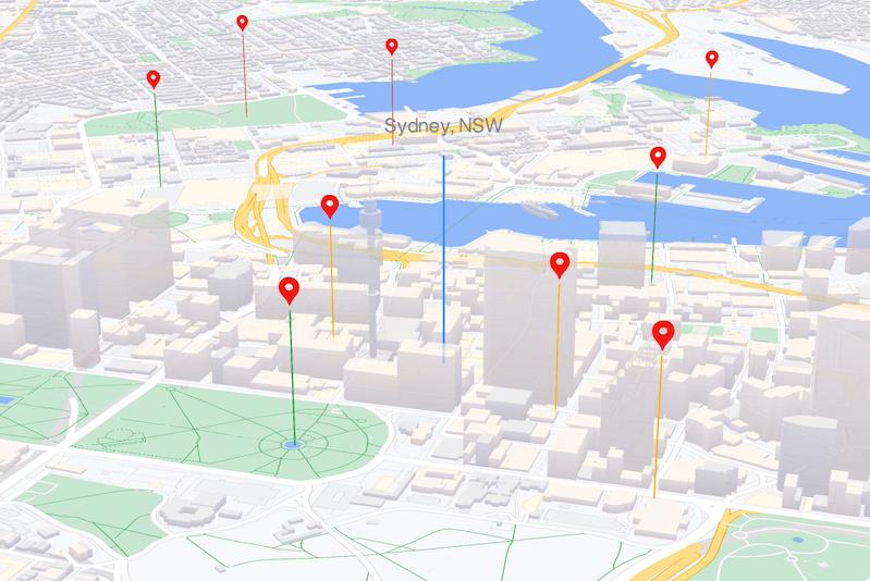 Éléments géographiques WebGL sur la carte: JavaScript
