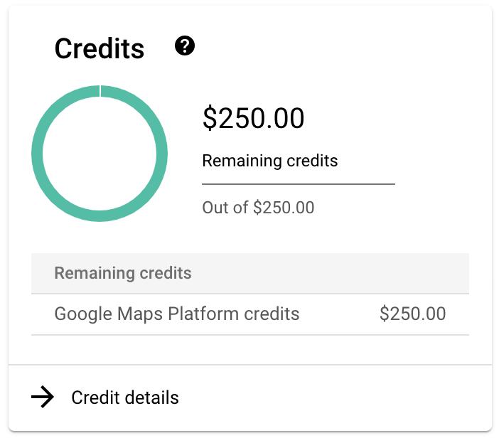 créditos adicionais na Plataforma Google Maps