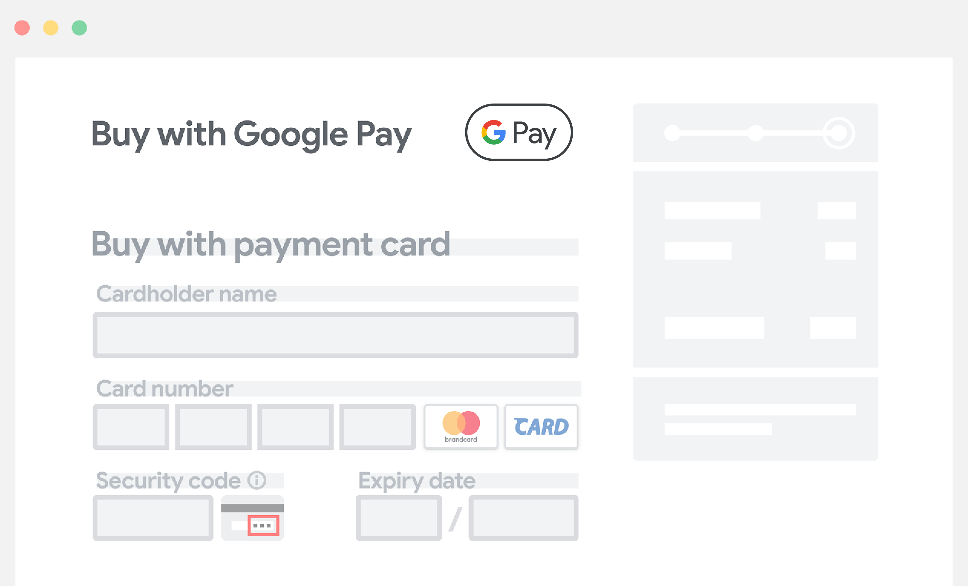 Place Google Pay above manual entry fields for payment information.