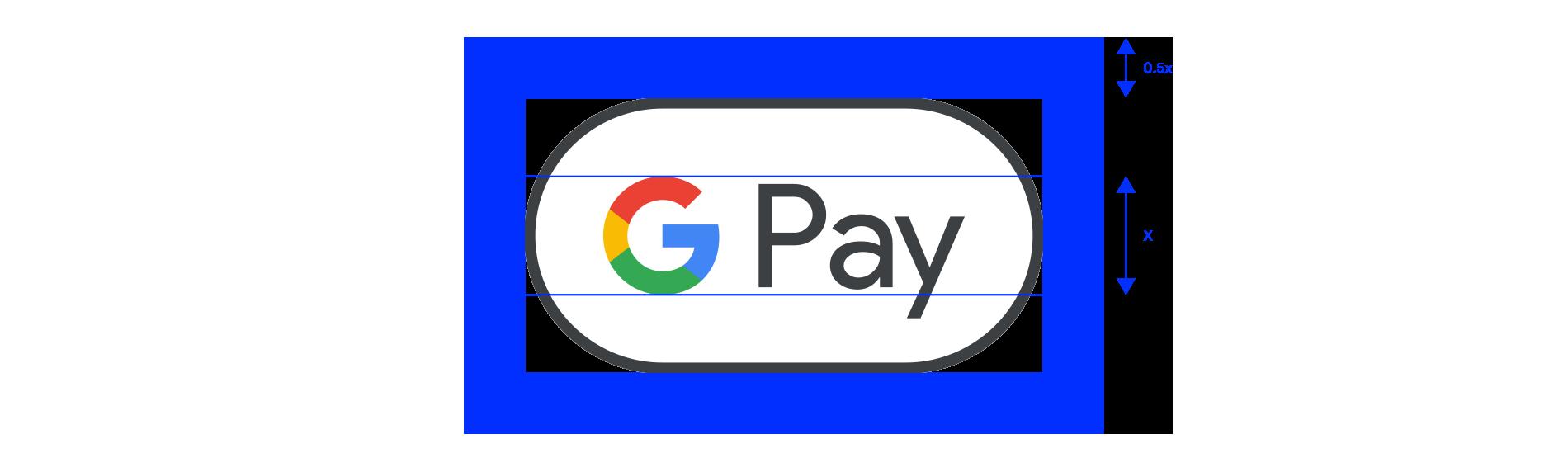 Google Pay マークのクリアスペースの例