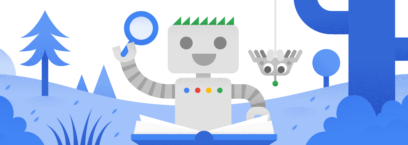 Googlebot liest ein Buch mit seinem neuen Spinnenfreund
