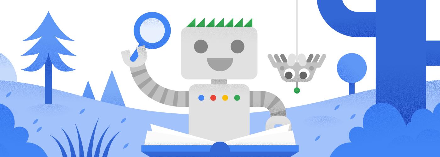 Googlebot czyta książkę wtowarzystwie nowego znajomego pająka