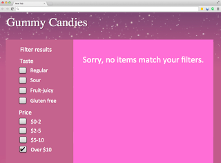 category page that lets users select filters when zero items exist