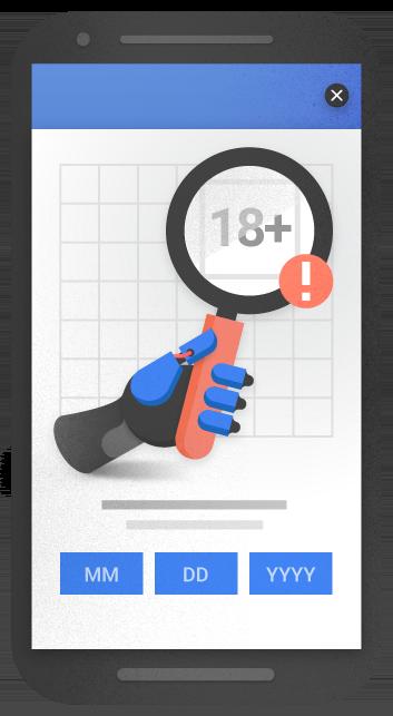 Ejemplo de un anuncio intersticial para la verificación de edad