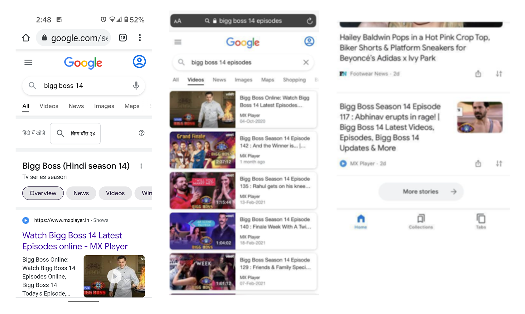 Videos in web search, the Video tab, and Discover