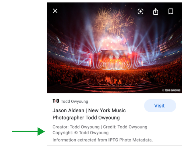 Image rights metadata on mobile device
