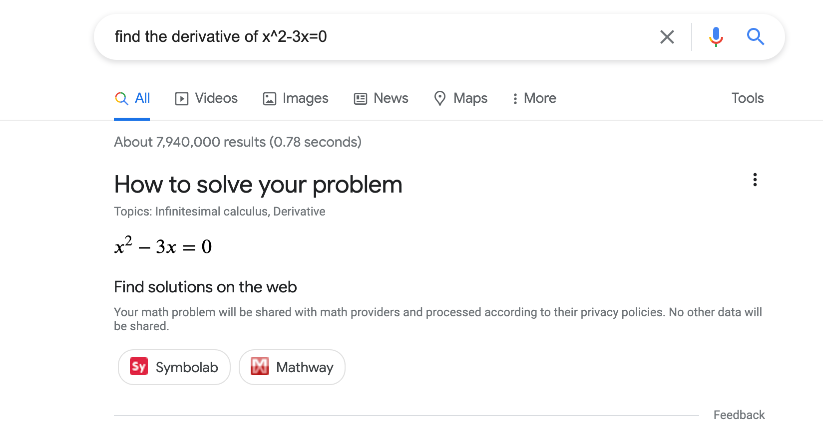 math solvers in search results