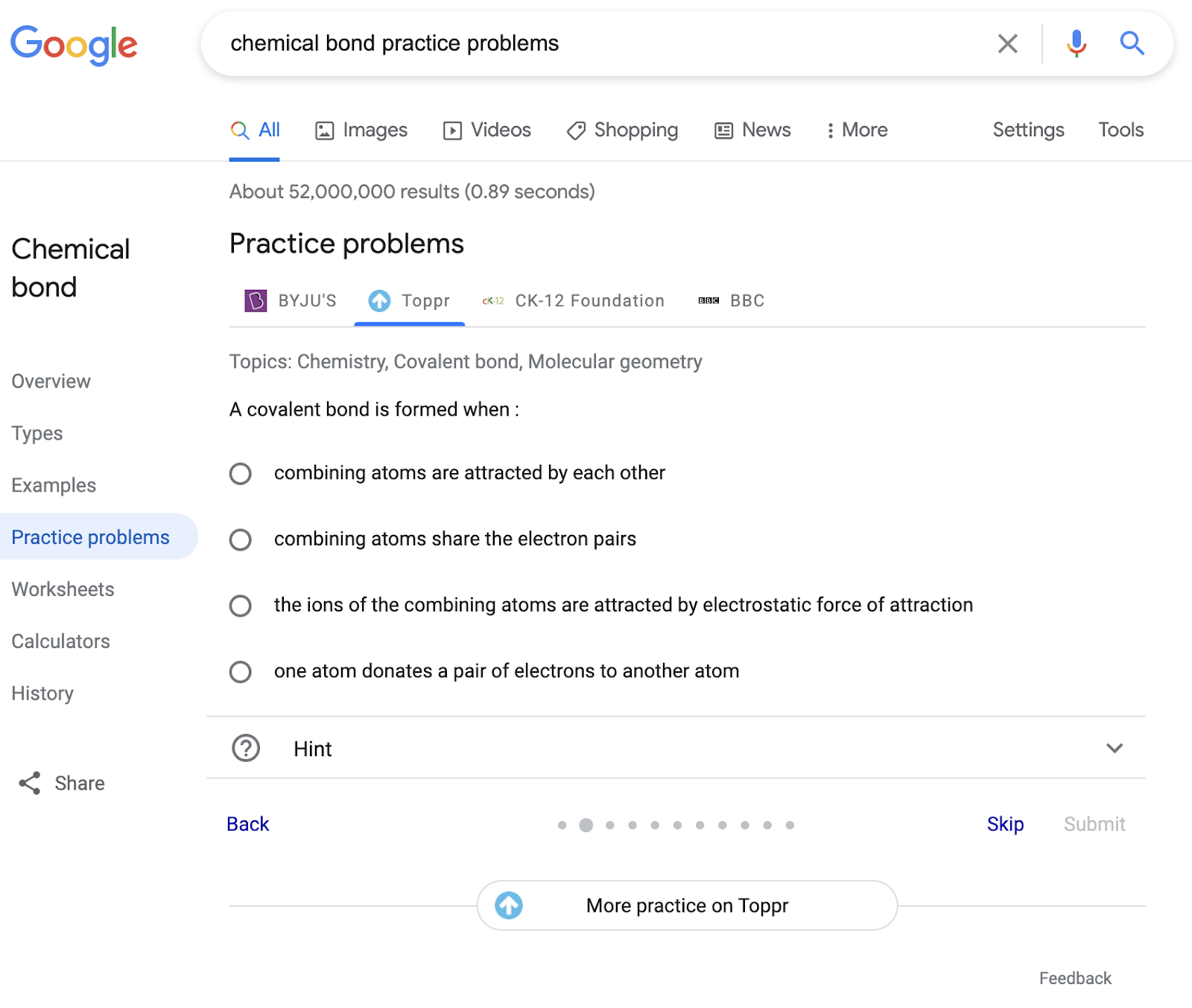 practice problems in search results