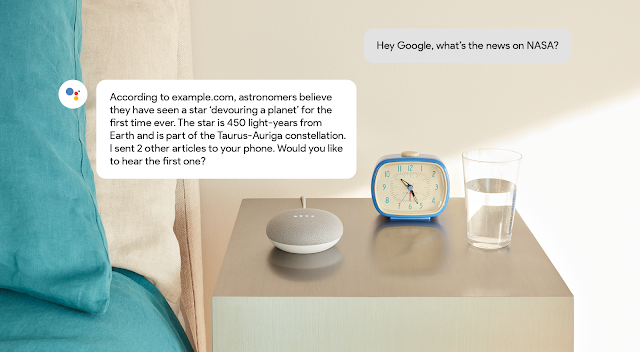 speakable example that shows a conversation with the Google Home. A person                         asks Google Home what's the latest news with Nasa. Google Home responds with                         a list of three news articles.