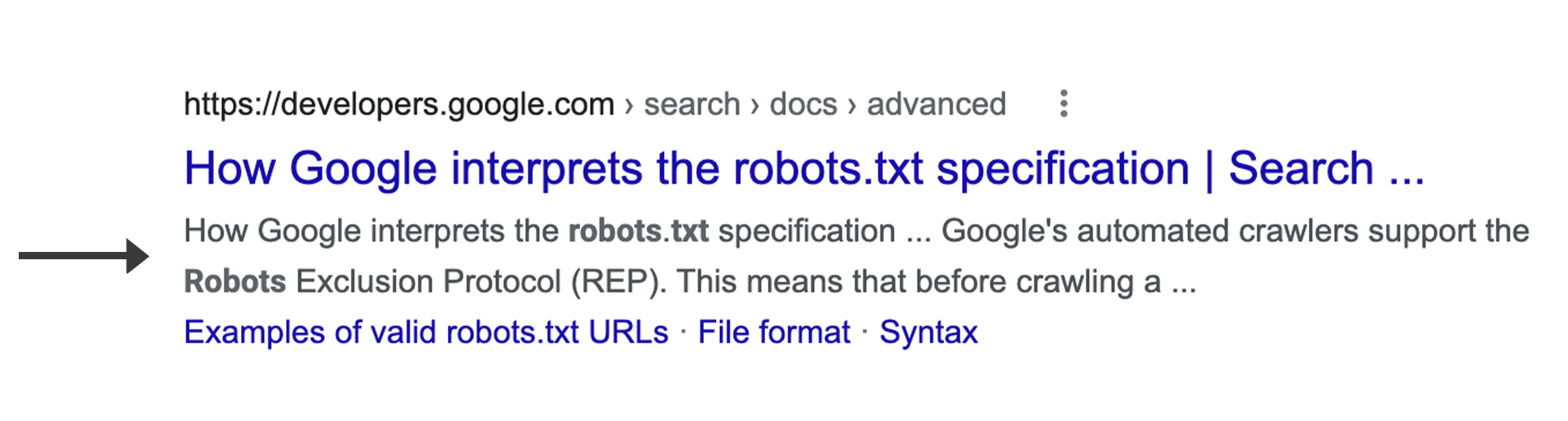 A snippet in a web result in Google Search