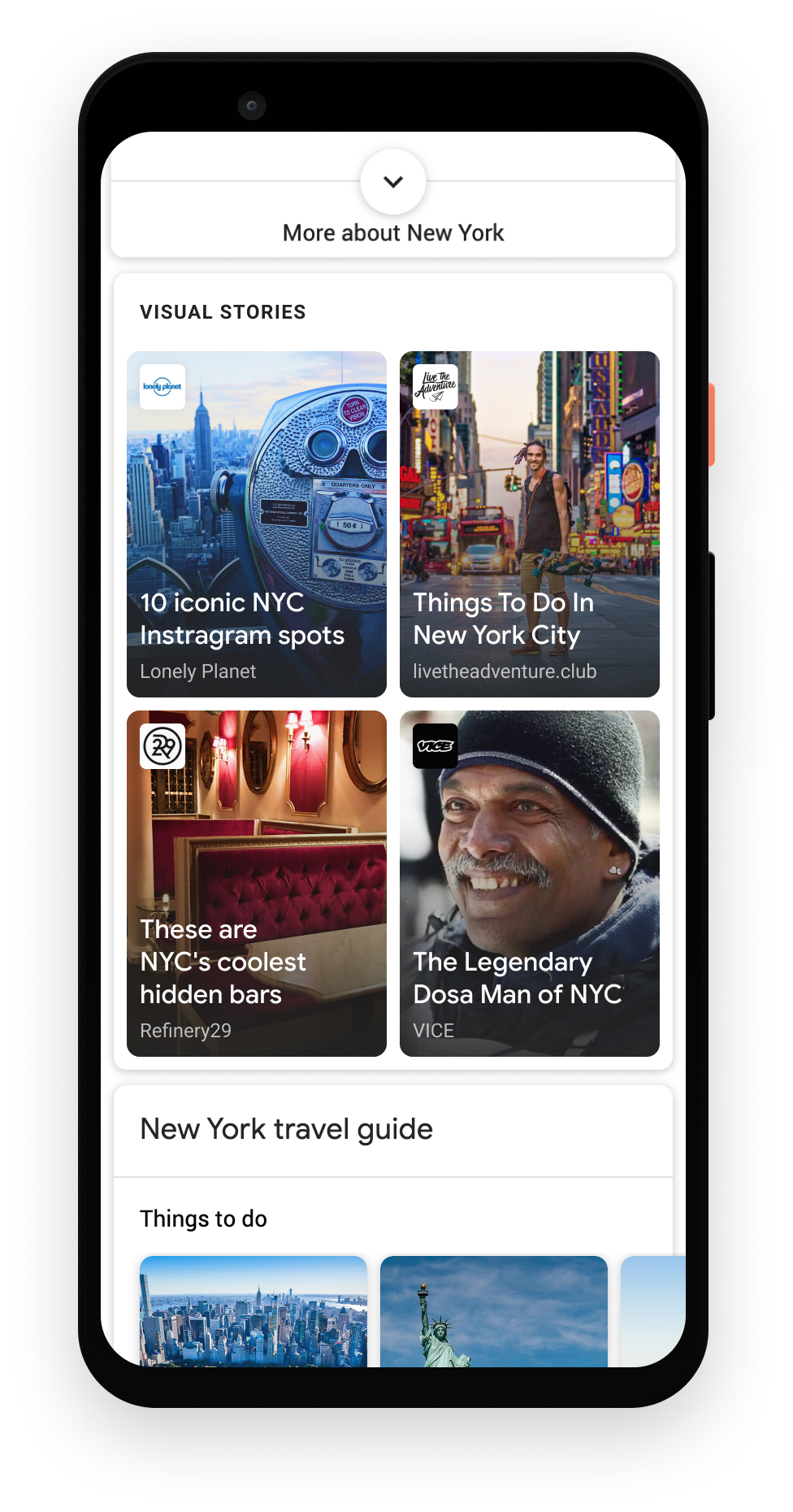 Web Stories as a grid view on Google Search