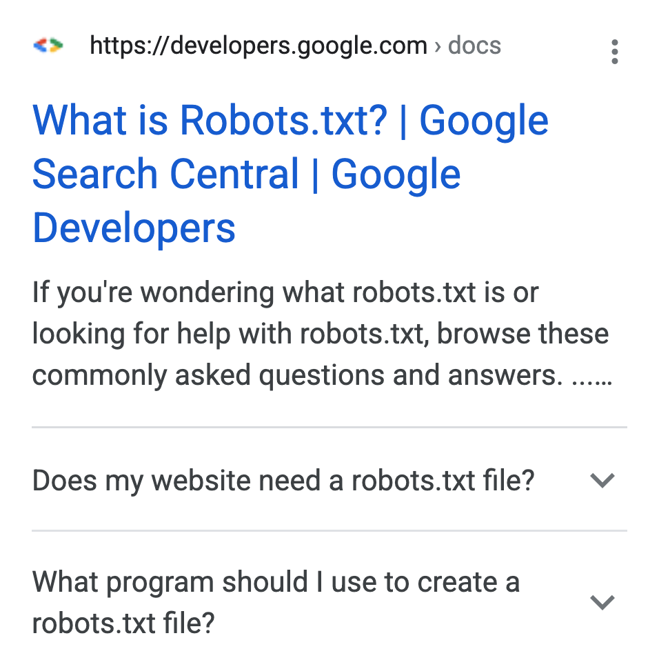 Image of an FAQ rich Search result