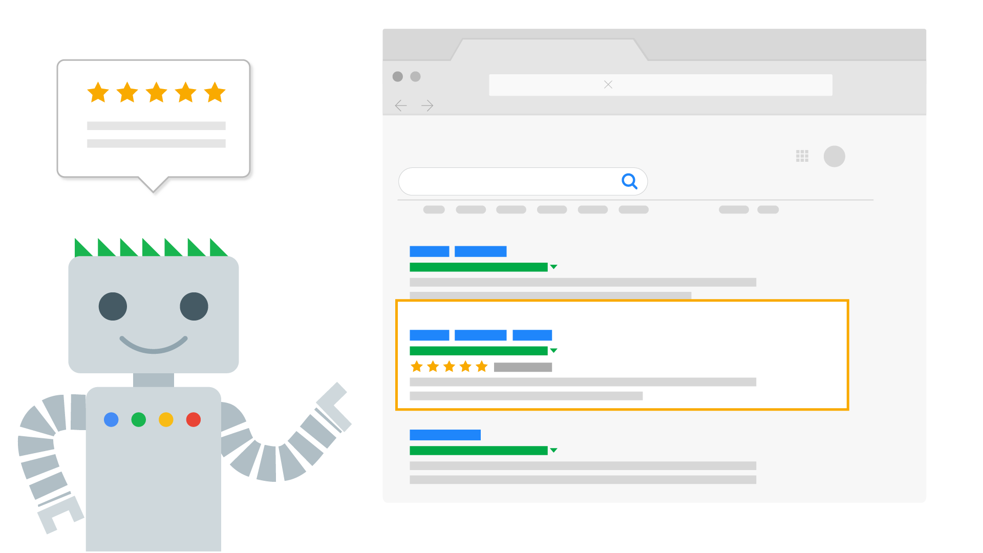 Googlebot pointing to a search result and explaining structured data