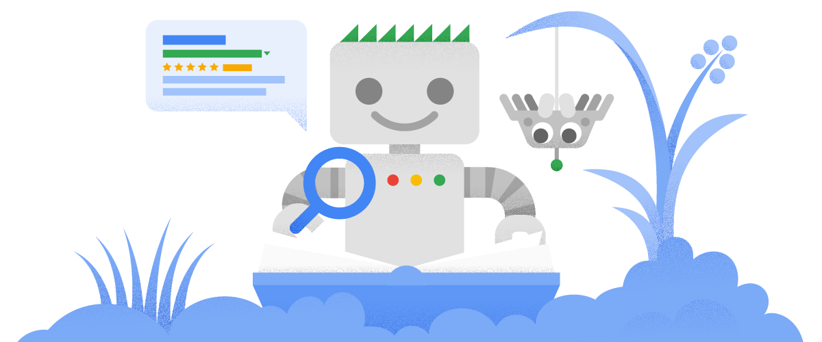 El robot de Google y un sitio web.