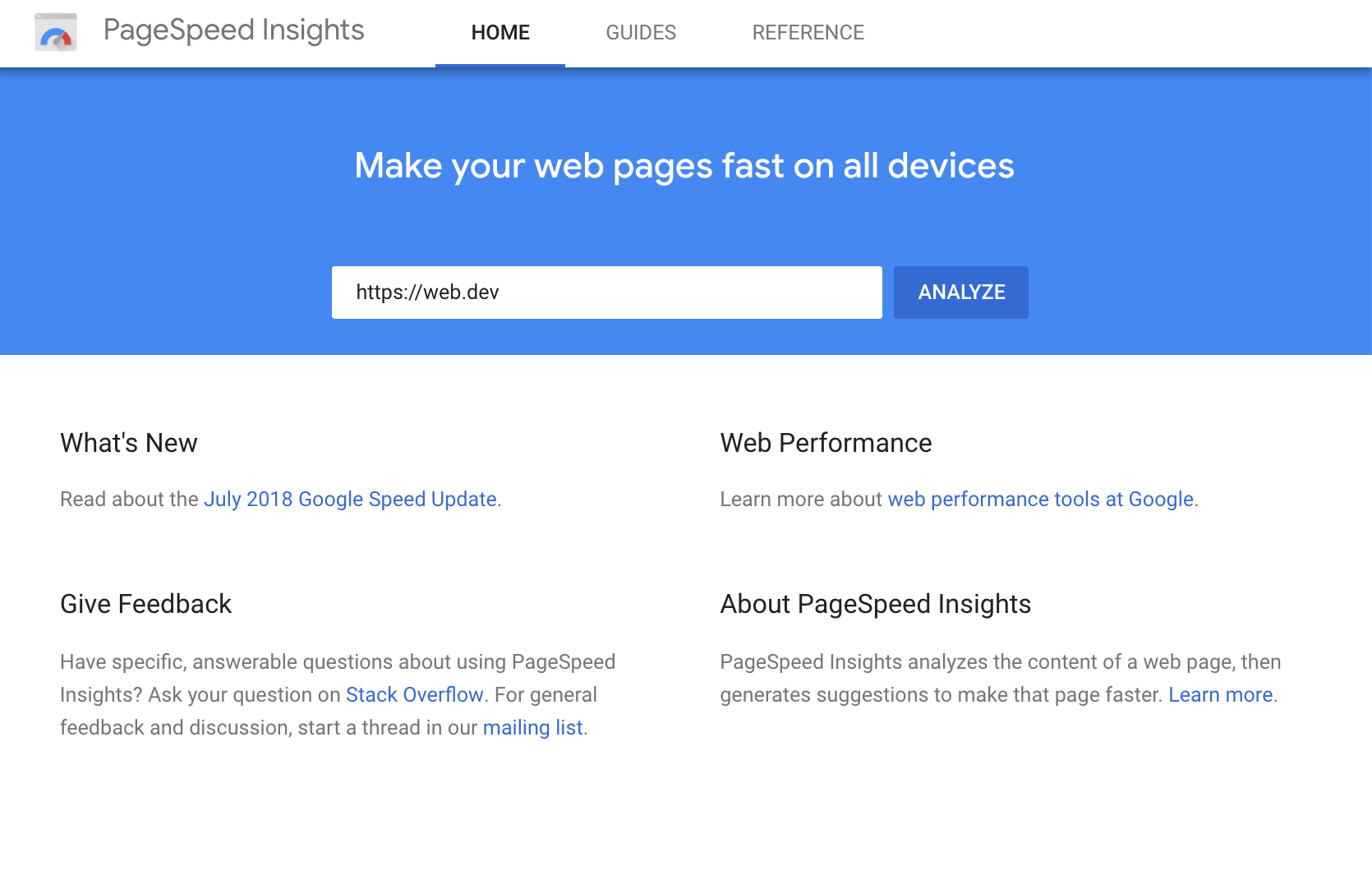 The PageSpeed Insights UI.