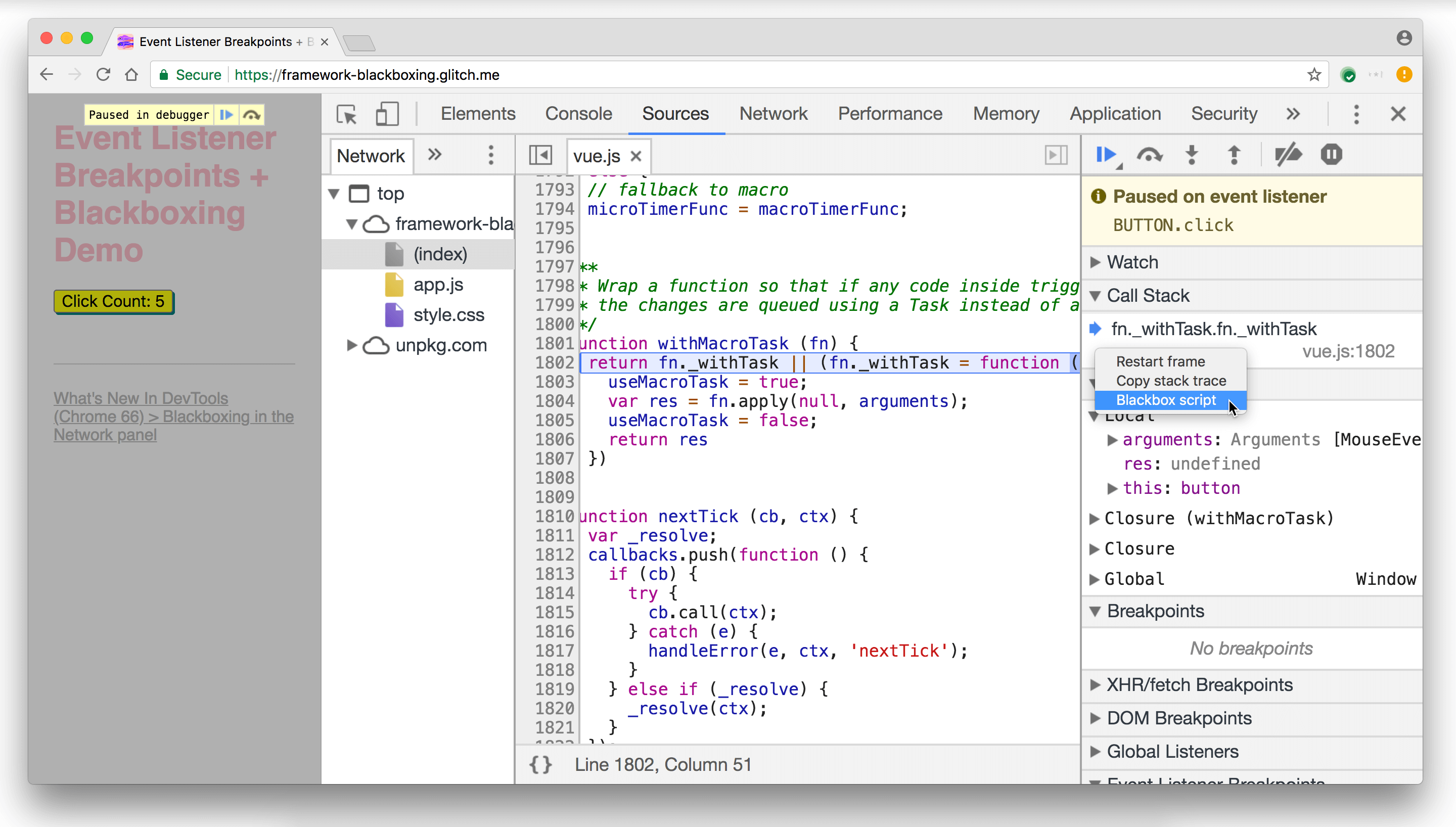 Blackboxing the Vue.js script from the Call Stack pane.