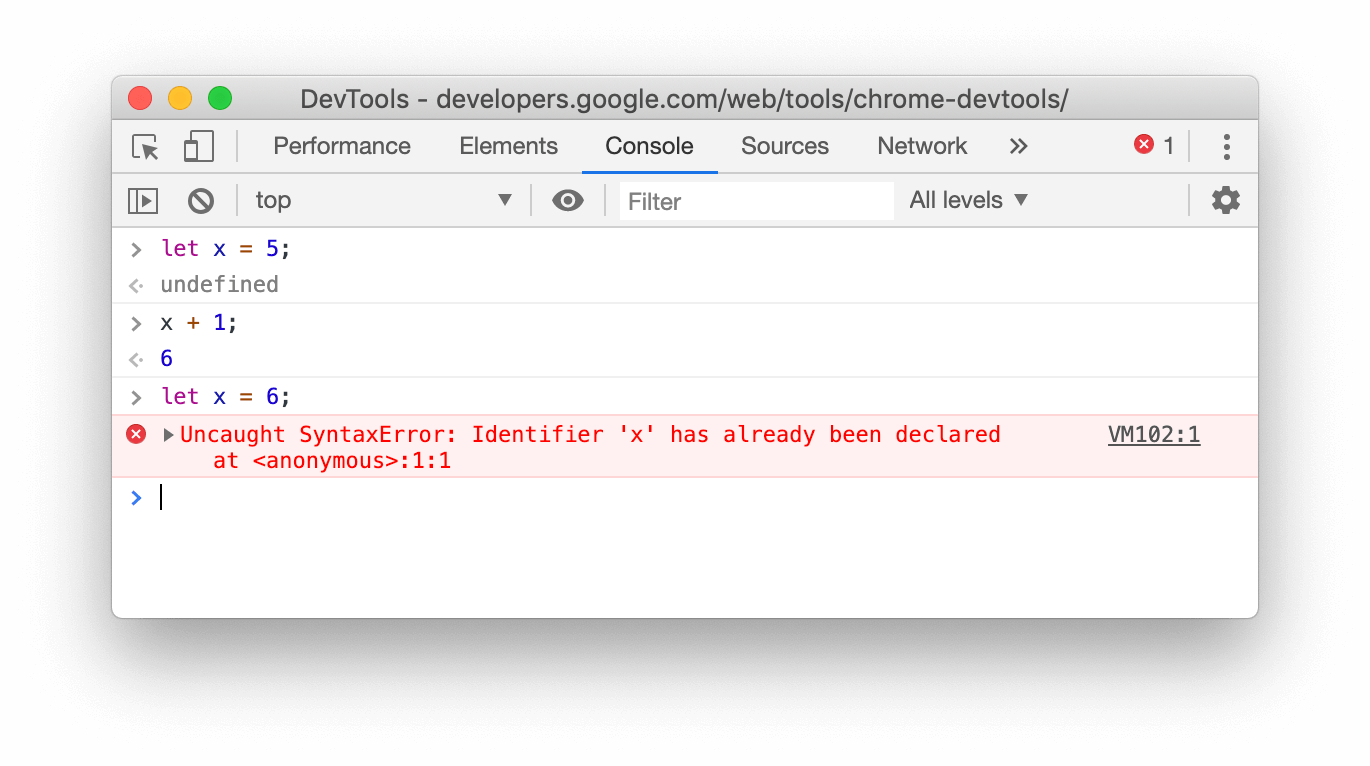 A screenshot of the Console in Chrome 78 showing that the let redeclaration fails.