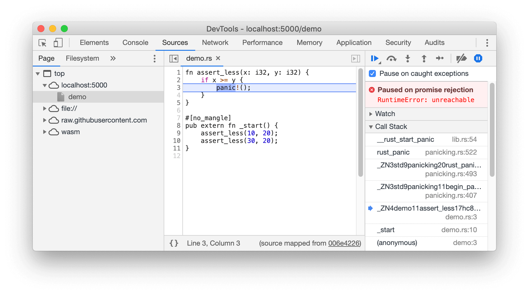 A screenshot of the new DWARF-powered WebAssembly debugging.